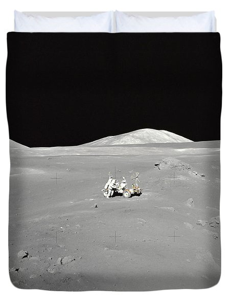 An Astronaut Working At The Lunar Duvet Cover by Stocktrek Images