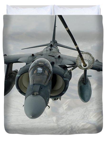 An Av-8b Harrier Receives Fuel Duvet Cover by Stocktrek Images