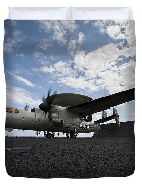 An E-2c Hawkeye Aircraft Prepares Duvet Cover by Stocktrek Images