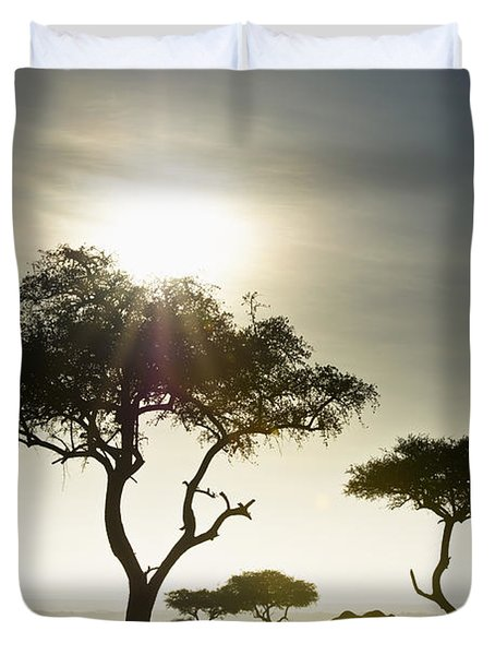 An Elephant Walks Among The Trees Kenya Duvet Cover by David DuChemin