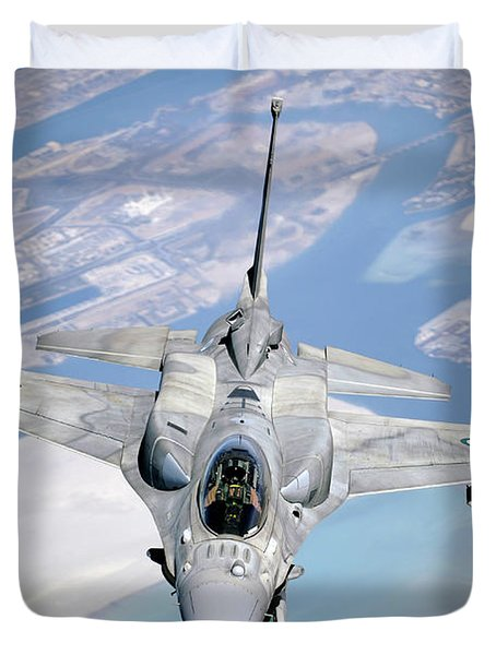 An Emirati F-16 Conducts A Training Duvet Cover by Stocktrek Images