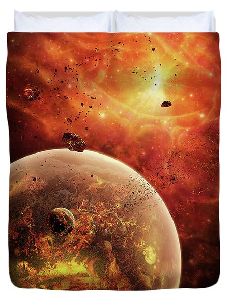 An Eye-shaped Nebula And Ring Duvet Cover by Brian Christensen