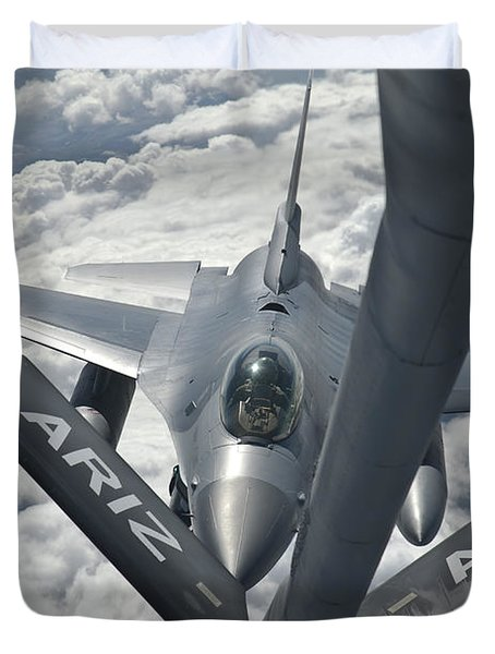 An F-16 From Colorado Air National Duvet Cover by Giovanni Colla