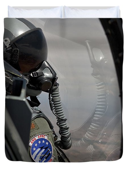 An F-16 Pilot Checks The Position Duvet Cover by HIGH-G Productions
