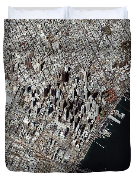 An Oblique-angle View Of San Franciscos Duvet Cover by Stocktrek Images