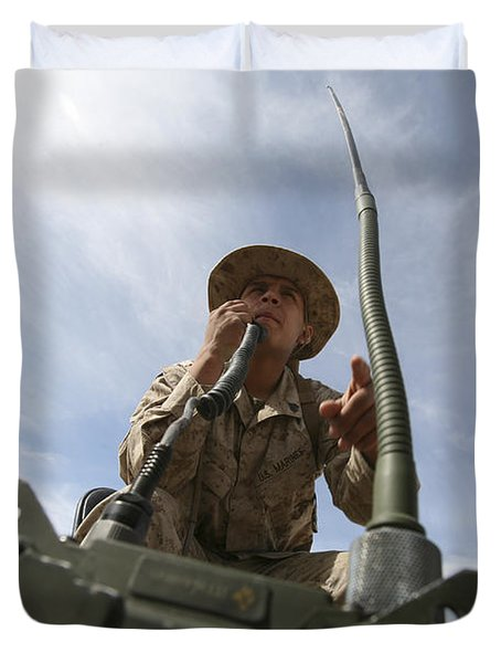 An Officer Conducts A Radio Check Duvet Cover by Stocktrek Images