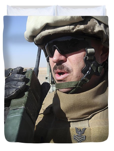 An Officer Relays Commands Duvet Cover by Stocktrek Images