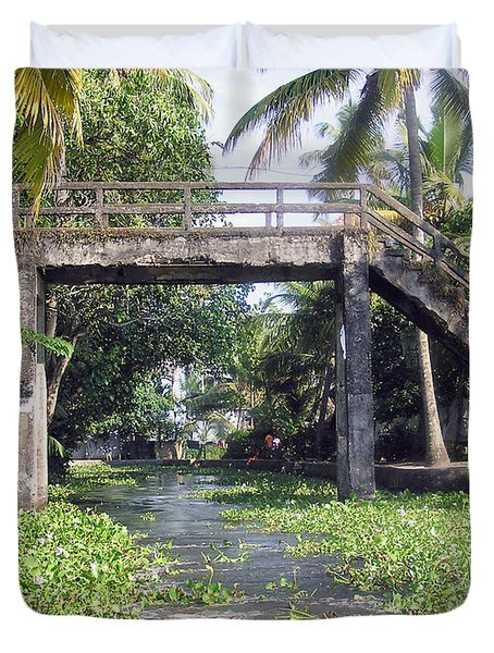 An Old Stone Bridge Over A Canal In Alleppey Duvet Cover