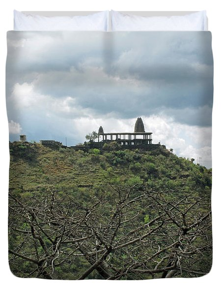 An Old Temple Building On Top Of A Hill With A Lot Of Clouds In The Sky Duvet Cover by Ashish Agarwal