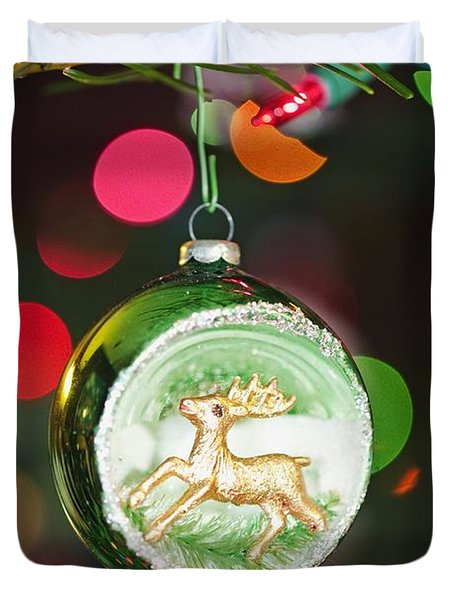 An Ornament With A Reindeer Hanging Duvet Cover by Craig Tuttle