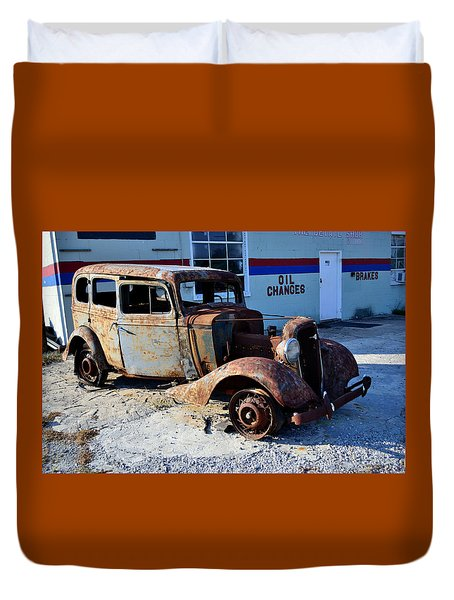 Duvet Cover featuring the photograph ...and Rotate The Tires by Larry Bishop