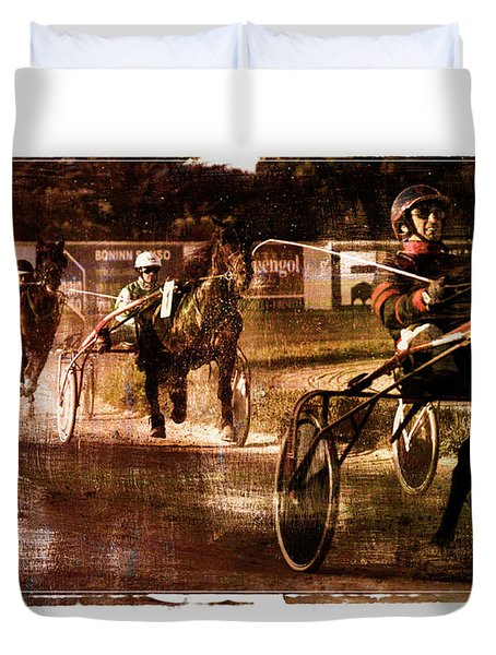 Duvet Cover featuring the photograph and the winner is - A vintage processed Menorca trotting race by Pedro Cardona