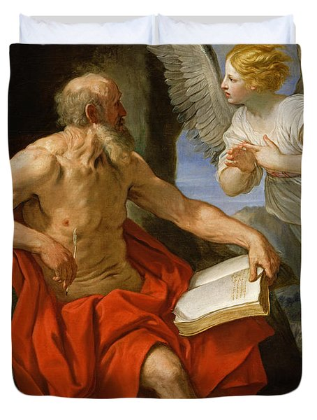 Angel Appearing To St. Jerome Duvet Cover