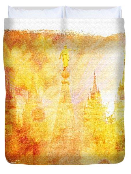 Angel Golden Duvet Cover by La Rae  Roberts