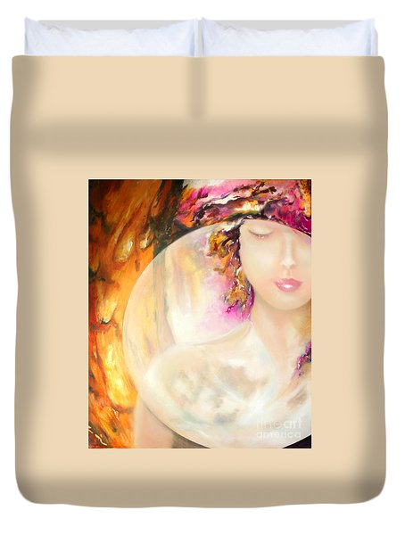 Duvet Cover featuring the painting Angel Luna by Michael Rock
