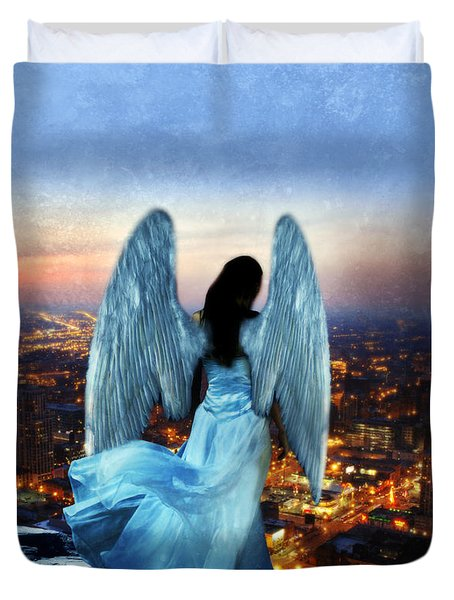 Angel On Rocky Ledge Above City At Night Duvet Cover by Jill Battaglia