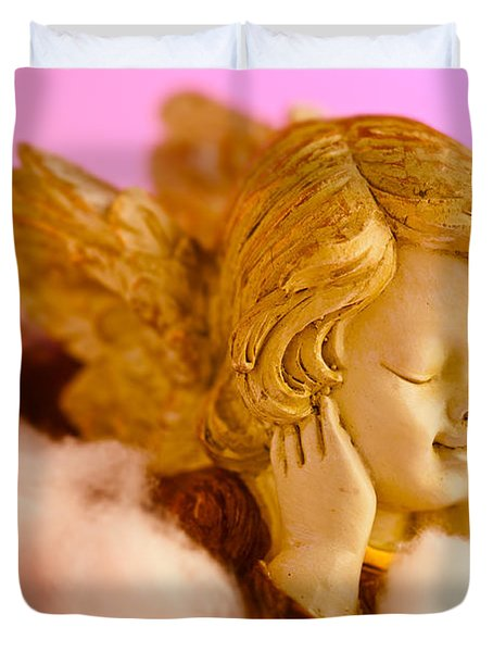 Angel Resting On Clouds And Enjoying The Sun Duvet Cover by U Schade