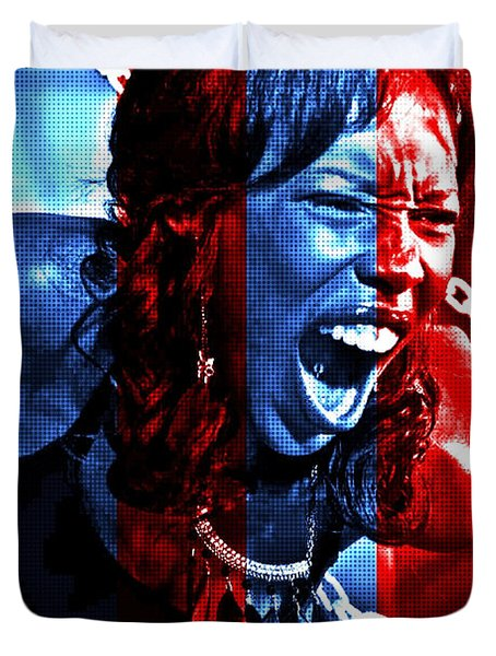 Duvet Cover featuring the photograph Anger In Red And Blue by Alice Gipson