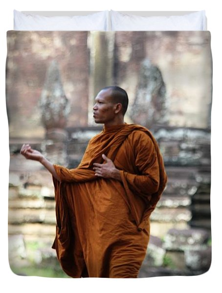 Angkor Wat Monk Duvet Cover by Nola Lee Kelsey