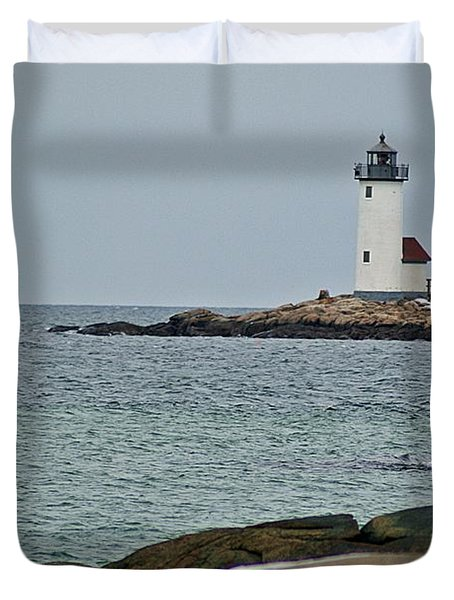 Annisquam Lighthouse Duvet Cover by Joe Faherty