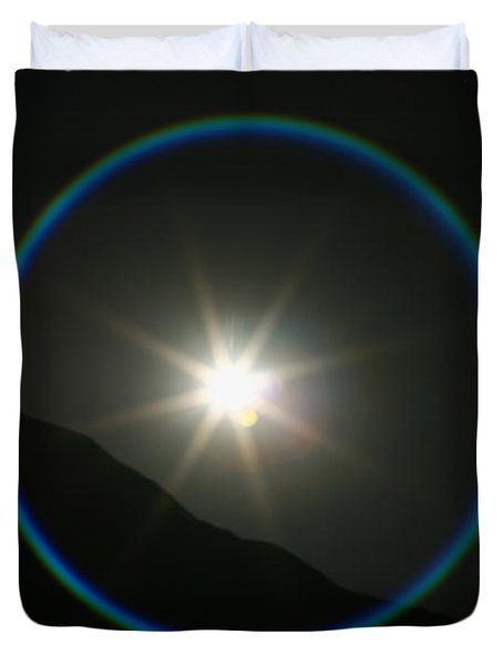 Duvet Cover featuring the photograph Annular Solar Eclipse - Blue Ring At Vasquez Rocks by Lon Casler Bixby