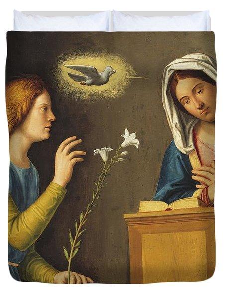 Annunciation To The Virgin Duvet Cover by Giovanni Battista Cima da Conegliano