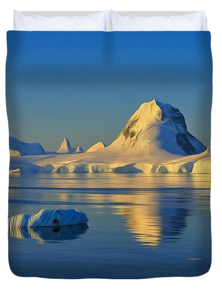 Antarctic Dusk Duvet Cover by Tony Beck
