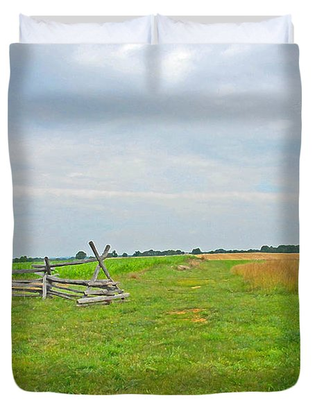 Antietam Battle Of The Cornfield Duvet Cover by Cindy Manero