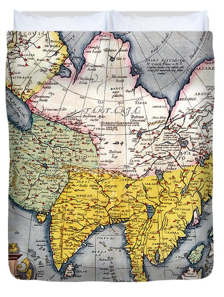 Antique Map Of Asia Duvet Cover by Claes Jansz