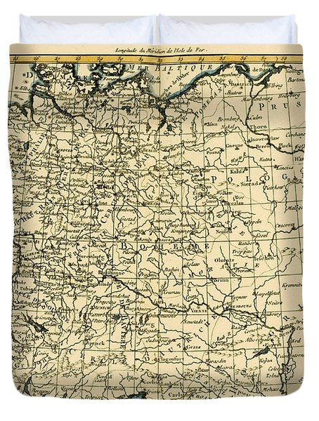 Antique Map Of Germany Bohemia And Hungary With Part Of Poland Duvet Cover by Guillaume Raynal