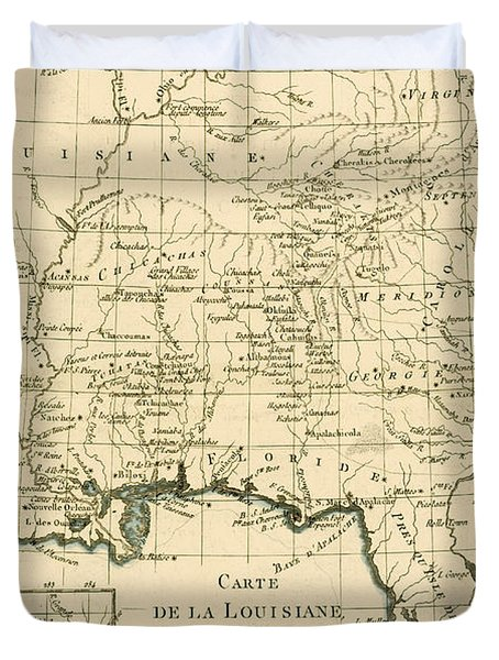 Antique Map Of Louisiana And Florida Duvet Cover by Guillaume Raynal