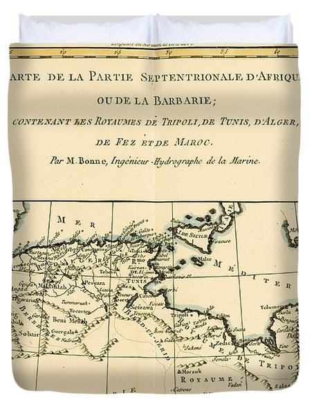 Antique Map Of North Africa Duvet Cover by Guillaume Raynal