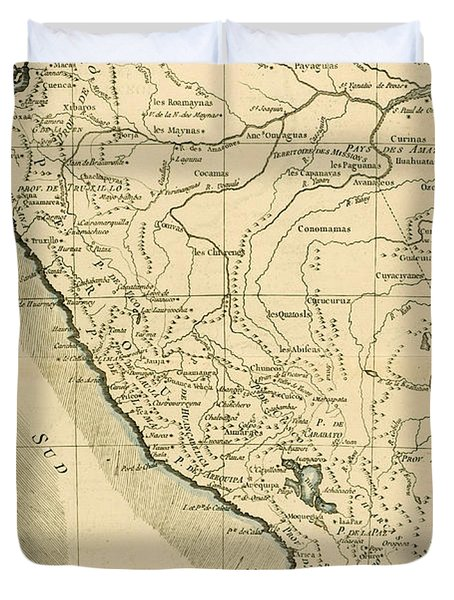Antique Map Of Peru Duvet Cover by Guillaume Raynal
