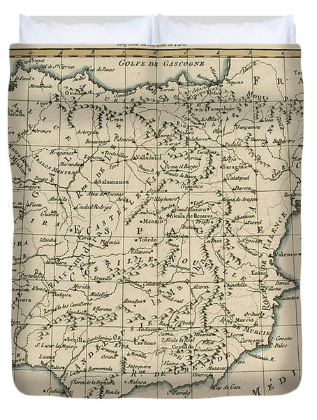 Antique Map Of Spain Duvet Cover by Guillaume Raynal