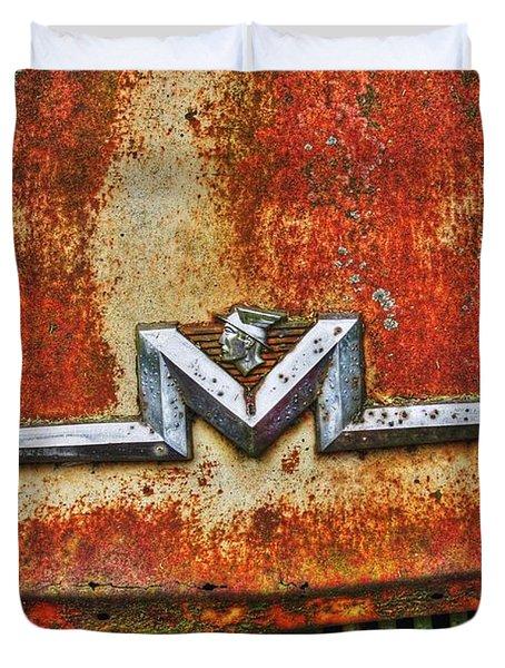 Antique Mercury Auto Logo Duvet Cover by Dan Stone