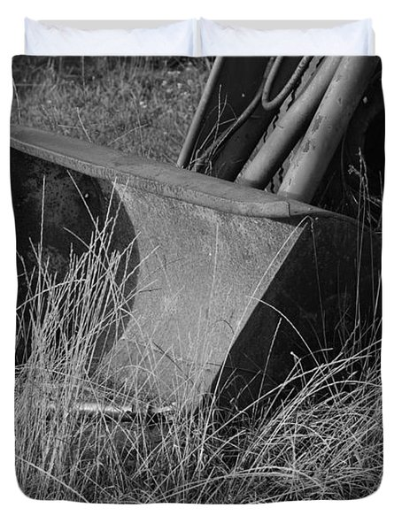 Antique Tractor Bucket In Black And White Duvet Cover by Jennifer Ancker