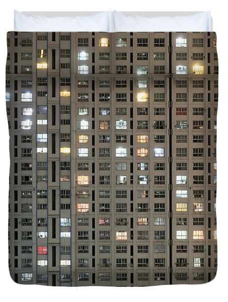 Apartment Block At Night, Typical Duvet Cover by Axiom Photographic