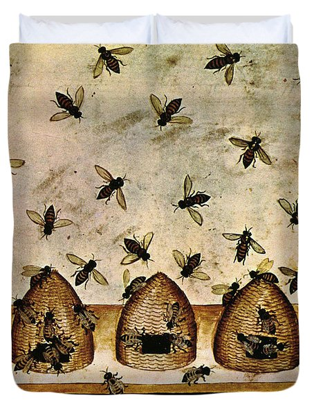 Apiculture-beekeeping-14th Century Duvet Cover by Science Source