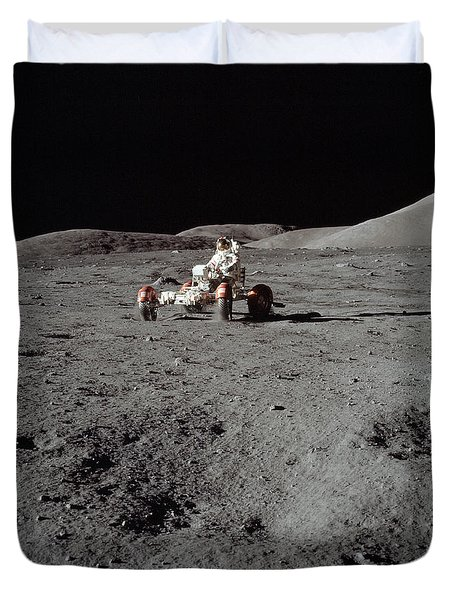 Apollo 17 Astronaut Driving The Lunar Duvet Cover