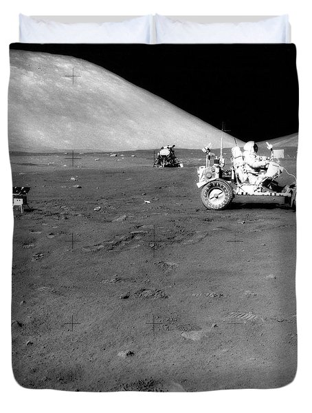 Apollo 17 Image Of Land Rover On Moon Duvet Cover by Stocktrek Images