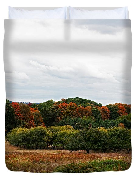 Apple Orchard Gone Wild Duvet Cover by Barbara McMahon
