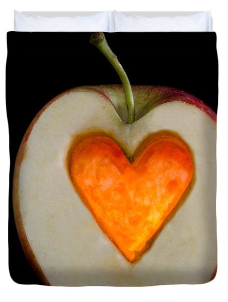 Apple With A Heart Duvet Cover