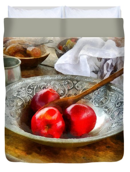 Apples In A Silver Bowl Duvet Cover by Susan Savad