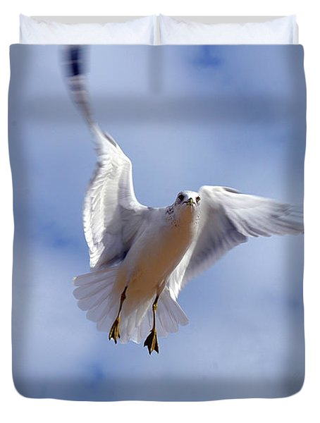 Duvet Cover featuring the photograph Applying Brakes In Flight by Clayton Bruster