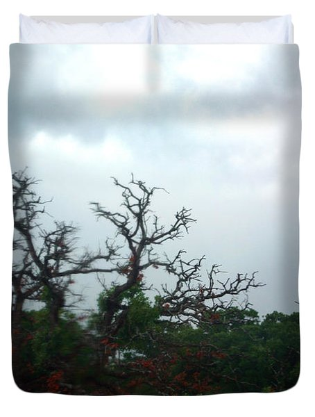 Duvet Cover featuring the photograph Approaching Storm Viewed Through My Rain Streaked Window by Lon Casler Bixby