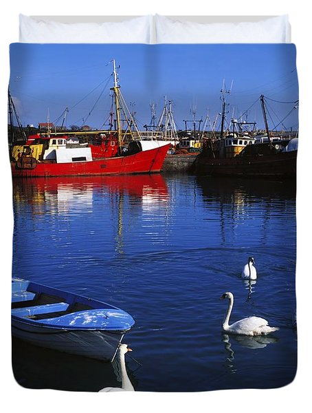 Ardglass, Co Down, Ireland Swans Near Duvet Cover by The Irish Image Collection