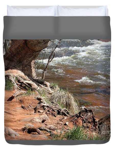 Duvet Cover featuring the photograph Arizona Red Water by Debbie Hart