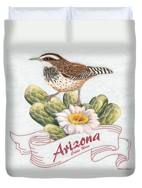 Arizona State Bird Cactus Wren  Duvet Cover
