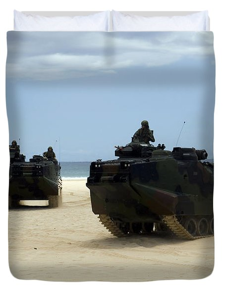 Armored Assault Vehicles Performing Duvet Cover by Stocktrek Images
