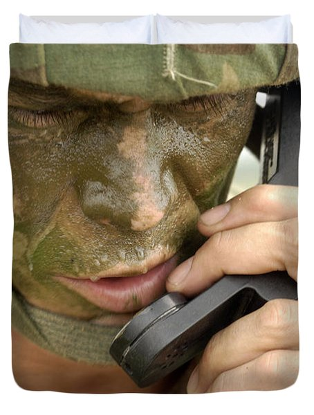 Army Master Sergeant Communicates Duvet Cover by Stocktrek Images